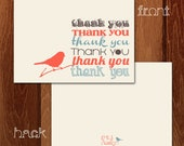 Printable Thank You Card - Print from home cards - Orange, gray, blue, BIRD