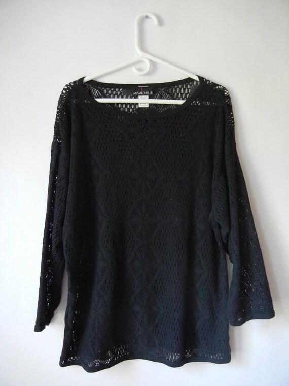 Vintage 90's Oversized Shirt, Size Medium, My Michelle, Black, Open Knit, Floral, Grunge, Goth, Hipster, Boho