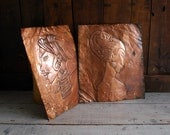 Embossed Copper Repousse Rubbing Art, Stylized Tribal Heads
