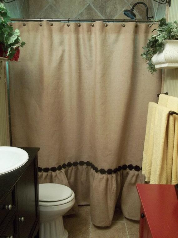 Ruffled Bottom Burlap Shower Curtain with Shabby Flower Trim