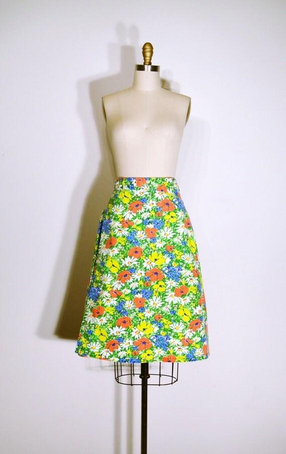 Vintage 1960s Skirt - 60s Wrap Skirt - Orange and Green Floral Print