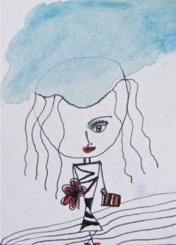 Cloud Girl with Rust Flower and Striped Clutch- Original ACEO Watercolor and Ink on Archival Paper -Rust- Black and White
