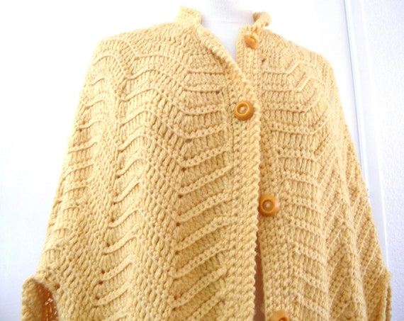 Vintage Knit Cape Jacket Honey Gold Mustard Yellow Poncho with Fringe - Fall Fashion