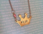 NEW-Fit For A Princess...Brass Hand Stamped Crown Necklace