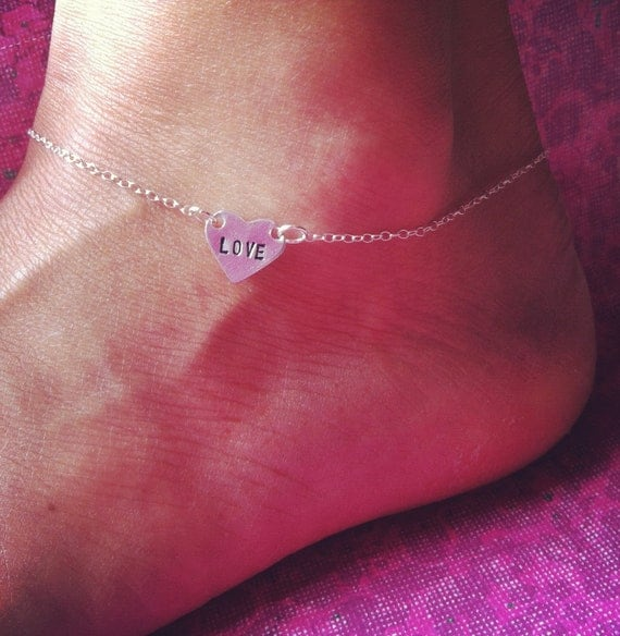 NEW- Hand Stamped LOVE anklet