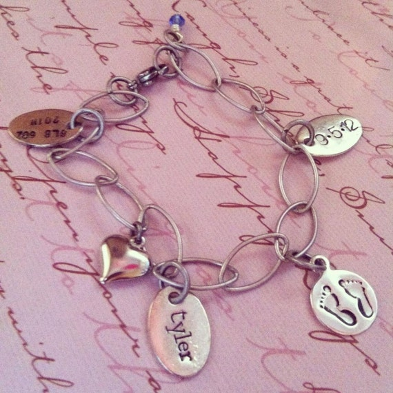 Custom Listing For Ruth...NEW-NEW BABY Baby Stats Hand Stamped Charm Bracelet