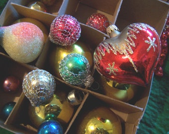 eclectic  collection of  holiday ornaments