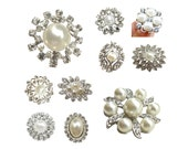 10pc Mixture of Crystal Rhinestone Pearl Buttons for Brooch Bouquet, Bouquet Charm, Ring Pillow - CS4 - FREE SHIPPING Worldwide