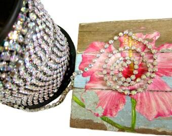 SS18 AB Crystal Rhinestone Chain, 3 Feet Length, Vintage Trim, Bridal Dress Belt, Bridal Headpiece Chain, Crystal Trim