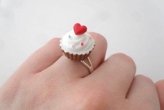 cupcake ring with red heart and sprinkles