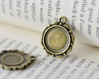 20PCS Antique Bronzed 14mm Round Bezel Cup Cabochon/ Cameo Pendant Mountings