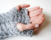 Wrist warmers, fingerless mittens, hand-crocheted, grey, charcoal, ready to ship