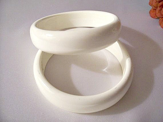 White Bracelets Wide Vintage Bangles Set Of Two