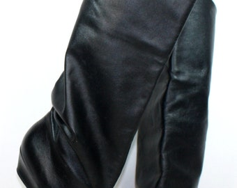 Vintage black riding knee high tall womens Leather high heel fashion boots 7 M B