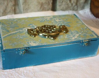 Lime and Turquoise Upcycled Cigar Box