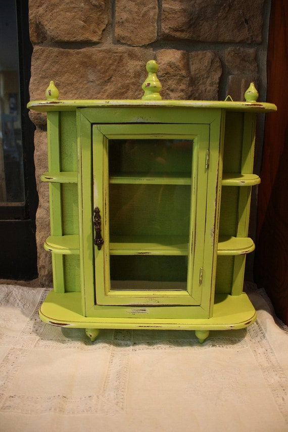 RESERVED-  ARAVEN ONLY Shabby Chic Distressed Lime Green Curio Cabinet
