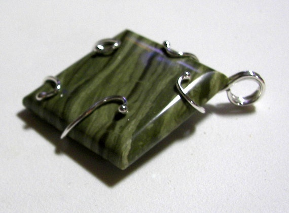 RESERVED FOR ADAM - Arizona Lizard Jasper Freeform Open Wrap Pendant