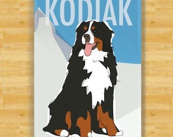 Personalized Bernese Mountain Dog Magnet - Custom Fridge Magnet Gift