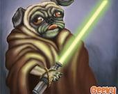 Jedi Pug - 8x8 art print - beige pug dog dressed up like yoda holding a lightsaber