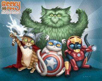 Cat Avengers - 10x8 art print - cats dressed up like Thor, Captain America, Iron Man and the Hulk. Superhero kitty