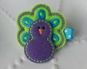 Peacock Hair Clip- Purple, Turquoise, and Lime Green Tropical Felt Hair Clip - MyLittlePixies