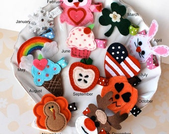 The Perfect First Birthday Gift- a Year of Hair Bows- Thanksgiving, Christmas, Valentines, Birthday Cupcake,- A Clip for Each Month