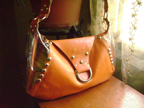 SALE CLEARANCE Chic in pumpkin leather and vinyl