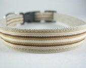 Hemp Dog Collar - Brown Stripes - 3/4in