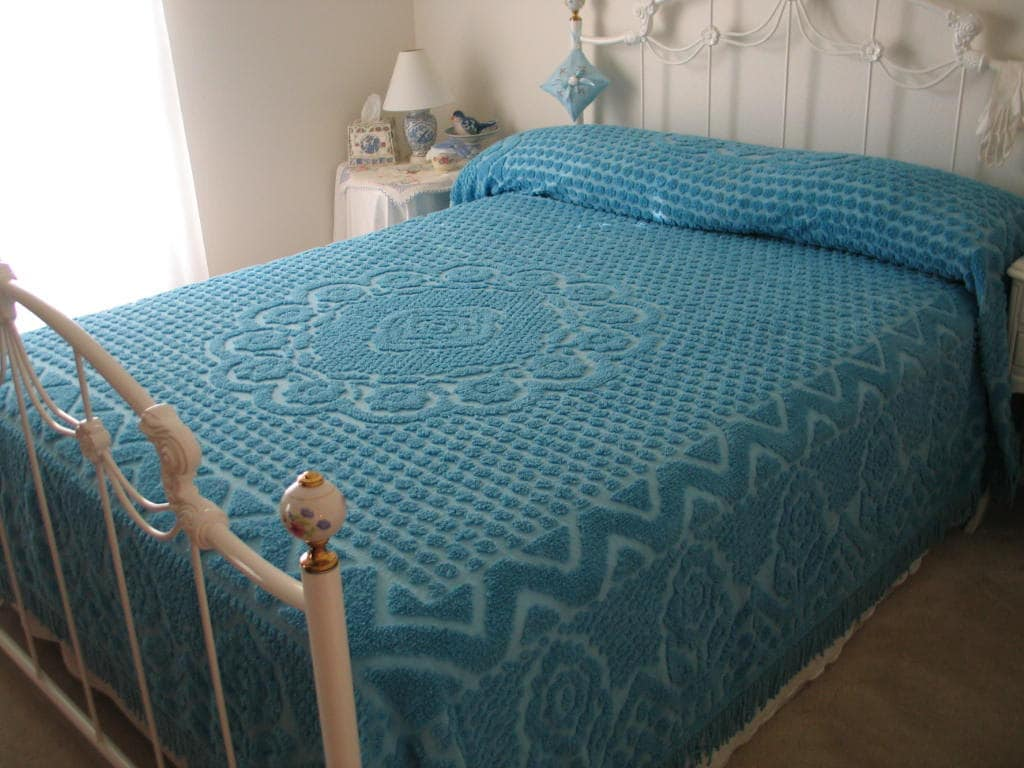 Chenille Bedspread Blue Beautiful Floral Design By