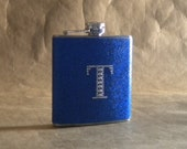 Personalized Gift Flask Royal Blue Sparkly with Rhinestone Initial 6 ounce Stainless Steel Girly Gift Flask KR2D 6133