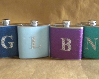 Personalized Gifts 4 of ANY Color Sparkly 6 ounce Stainless Steel Flasks ALL with ANY Rhinestone Initial KR2D 5998