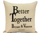 Reserved for Paulina at Market to Market  Custom Monogram Wedding/Anniversary/Baby Pillows Natural Organic Cotton