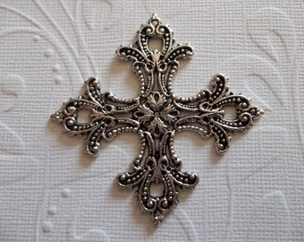 Steampunk Inspired Coptic Cross Pendant in Antiqued Silver - Qty 1