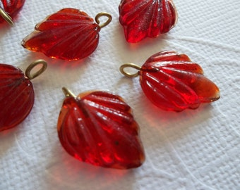 Ruby Red Glass Leaf Charms Beads Leaves with Brass Loops 15mm X 12mm - Qty 12