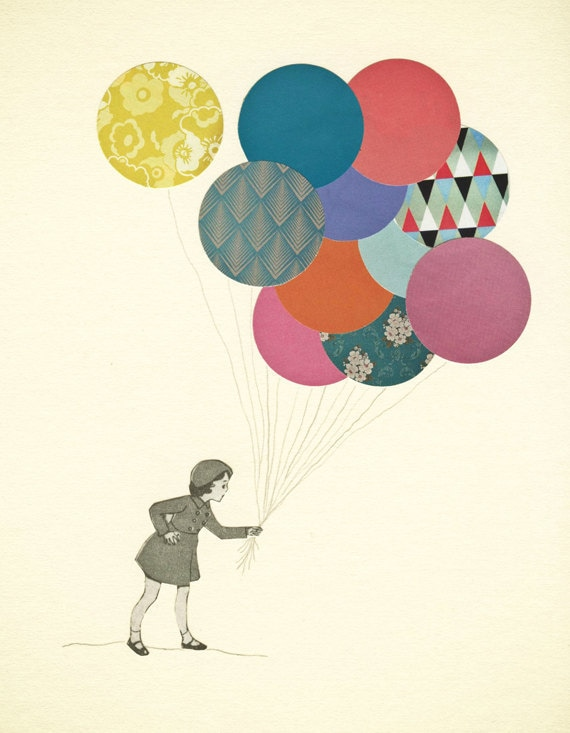 "20% OFF Party Girl - Little girl art, balloon collage, whimsical nursery decor, baby, kids room - Party Girl 7x9"" collage paper print"