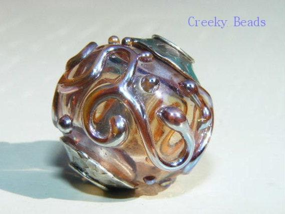 Handmade Silver Core Hollow Lampwork Focal bead Creeky Beads SRA