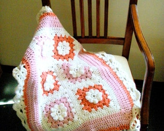 Crochet Baby Blanket Newborn blanket Photo prop Baby Bedding cradle White Pink Coral Roses Baby Blanket Hippy chic