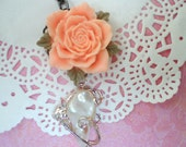 Peach Pink Rose Flower with Large Pearl and Crystal Rhinestone Charm Necklace