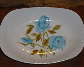 Vintage Kasuga Japan Holiday Pattern Blue Roses Oval Rectangle Vegetable Bowl Retro Serving Home Decor Kitchen Dining Wedding Entertaining