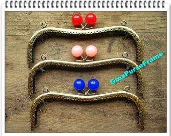 21cm(8 1/8 inch) Jelly candy bead Heart-shape eyeglass or sunglasses metal purse frame with sewing holes for glasses case (3colors)-1pieces