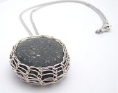 Wire Wrapped Beach Pebble Pendant in Sterling Silver Wire - Viking Weave Bezel - Comes with Free Chain - You choose length