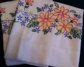 Embroidered Pillow Cases  Vintage Unused Linens Bedding