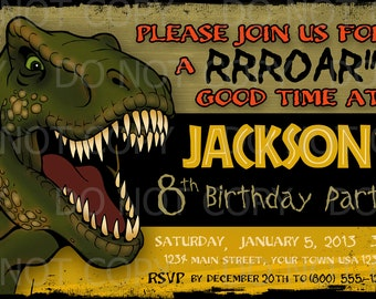 Printable DIY Dinosaur T Rex Tyrannosauras Rex  Party Invitation