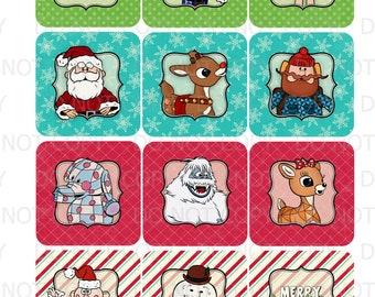Printable DIY Christmas Rudolph Reindeer Santa Cupcake Toppers or Favor Tags