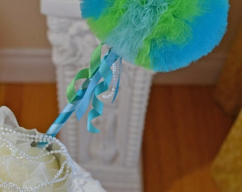 Aqua Lime Green-Toy Tulle Puff  Magic Wand-Flower Girl Accessory