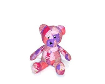 BEAR Stuffed Animal Toy Patchwork Hot Pink  & Lavender  Shabby Cottage Chic Baby Shower - Ready to Ship valentines day gift baby girl kids