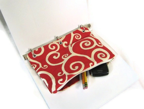 Red Swirl Organizing Case for 3 Ring Binder with Zipper - Back to School - Ready to Ship