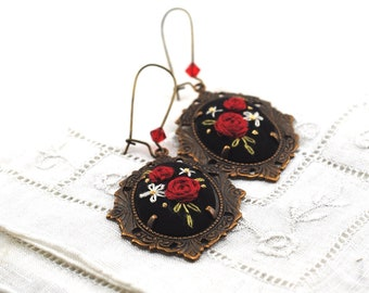 Holiday Embroidered Earrings, Red Black Floral Folk, Eco friendly recycled silk