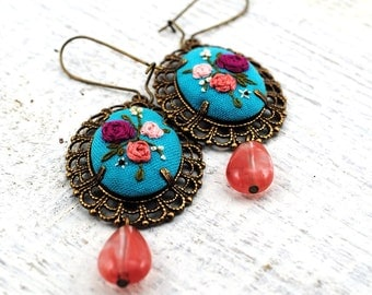 Embroidered Cameo Earrings, aqua pink floral, recycled vintage silk, under 50