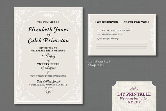 Items similar to Printable Wedding Invitation and